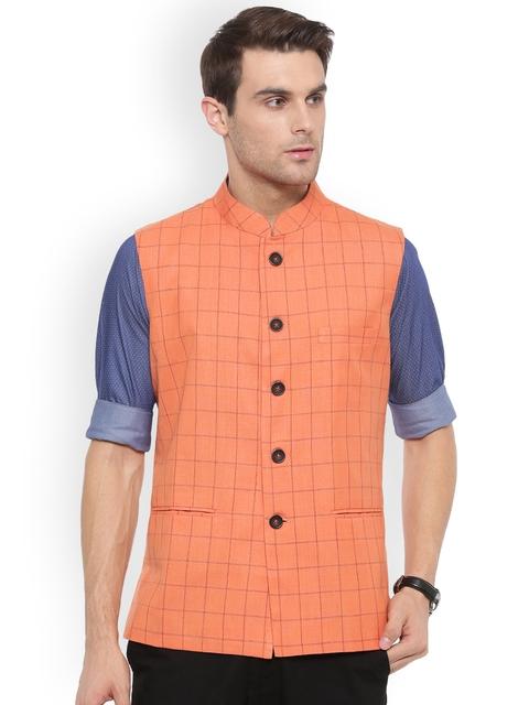 Shaftesbury London Orange & Black Checked Slim Fit Nehru Jacket