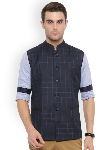 Shaftesbury London Navy Blue Checked Slim Fit Nehru Jacket
