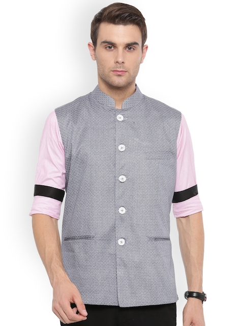 Shaftesbury London Grey Printed Slim Fit Nehru Jacket