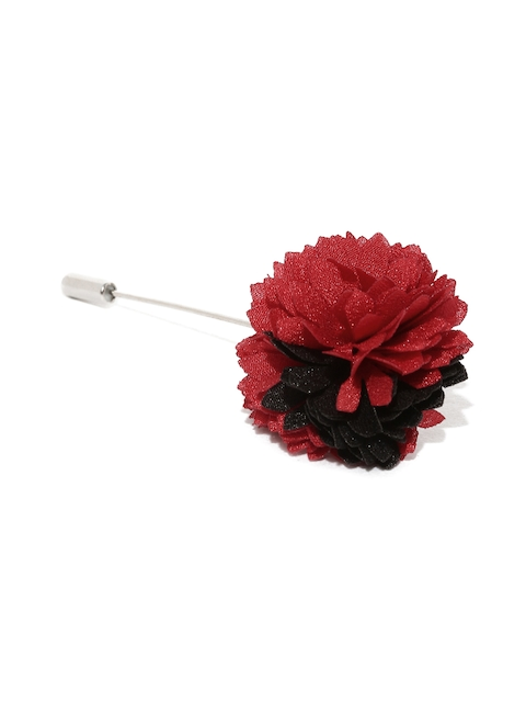 The Bro Code Men Red Floral Detail Lapel Pin