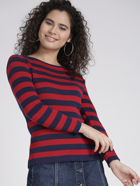 Chemistry Women Red & Navy Blue Striped Sweater