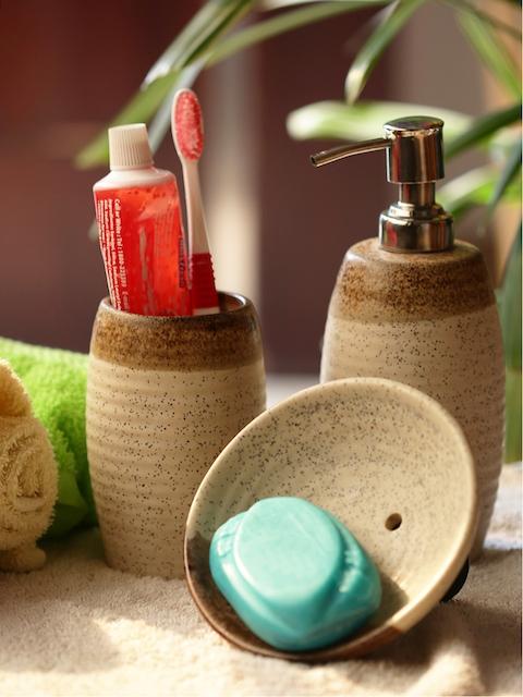 ExclusiveLane Cream-Coloured & Brown Set Of 3 Solid Ceramic Bath Accessories