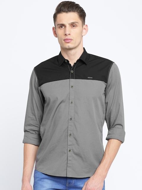 Wrangler Men Grey & Black Slim Fit Solid Casual Shirt