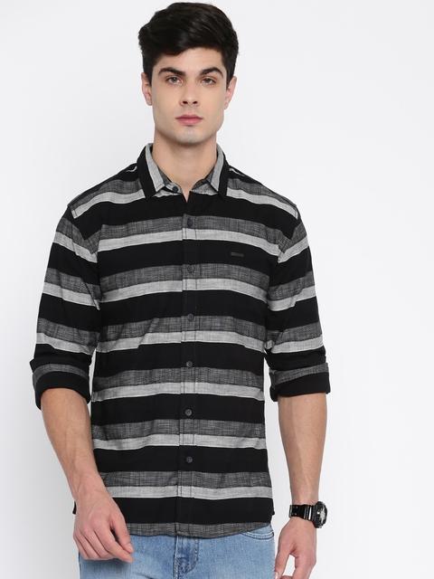 Wrangler Men Black & Grey Regular Fit Striped Casual Shirt