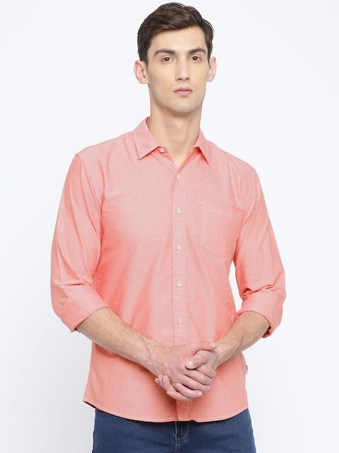 Wrangler Men Red Regular Fit Solid Casual Shirt
