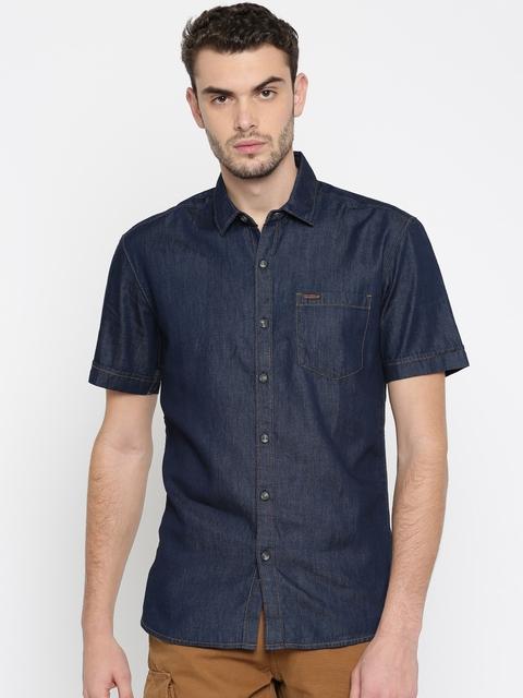 Wrangler Men Navy Slim Fit Solid Casual Shirt
