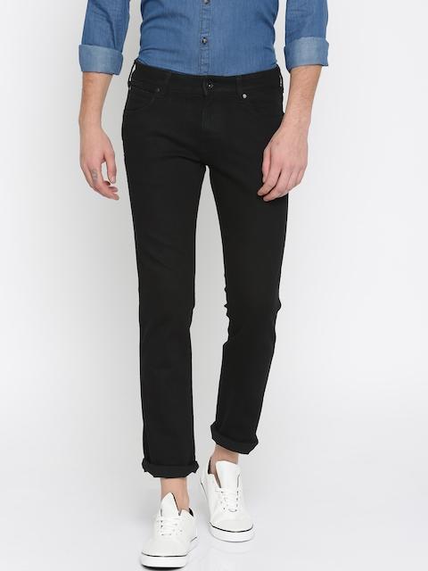 Wrangler Men Black Skanders Slim Fit Low-Rise Clean Look Stretchable Jeans