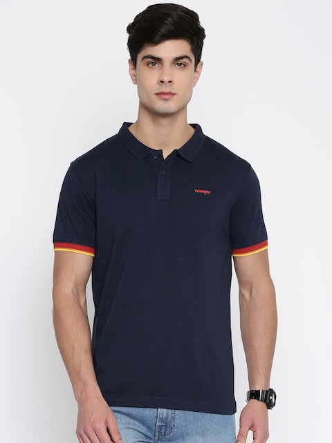 Wrangler Men Navy Blue Solid Polo Collar T-shirt  available at myntra for Rs.957