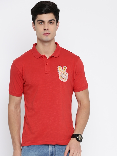 Wrangler Men Red Solid Polo Collar T-shirt  available at myntra for Rs.957