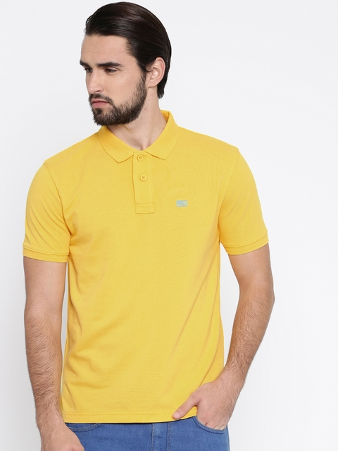 Wrangler Men Yellow Solid Polo Collar T-shirt  available at myntra for Rs.837