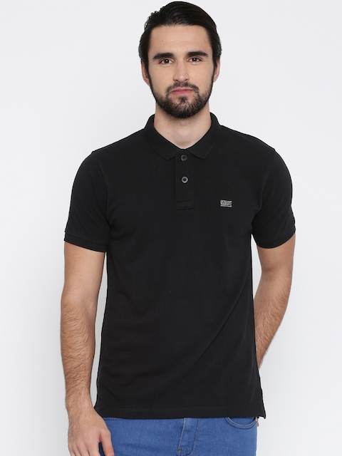 Wrangler Men Black Solid Polo Collar T-shirt  available at myntra for Rs.837