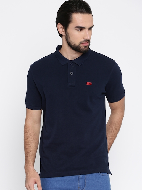 Wrangler Men Navy Blue Solid Polo Collar T-shirt  available at myntra for Rs.837