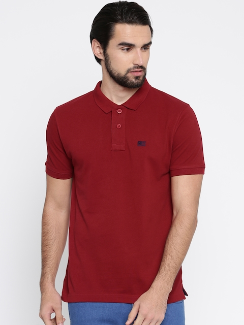Wrangler Men Red Solid Polo Collar T-shirt  available at myntra for Rs.837