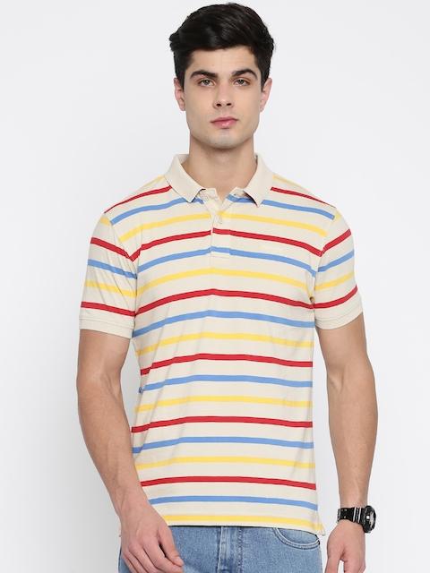Wrangler Men Cream-Coloured Striped Polo Collar T-shirt  available at myntra for Rs.897