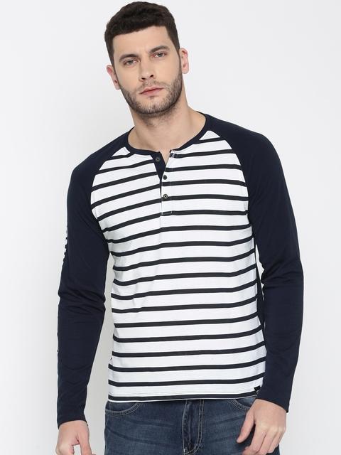 Ecko Unltd Men Navy & White Striped Henley Neck Slim Fit  T-shirt
