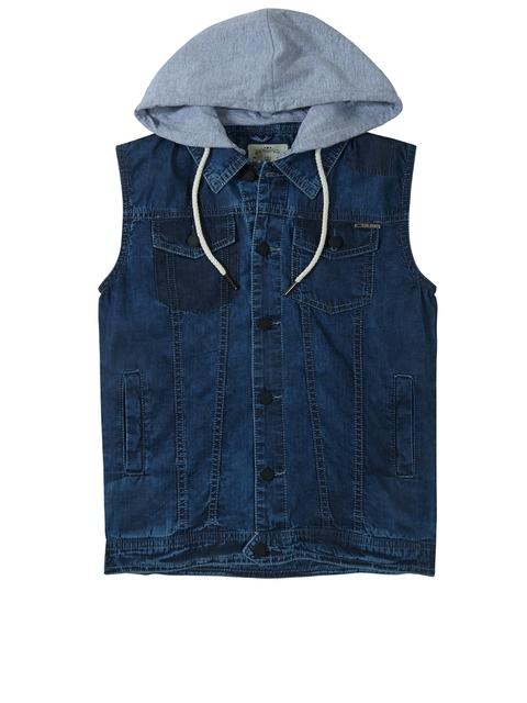 Gini and Jony Boys Blue Solid Denim Jacket