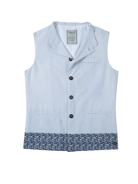 Gini and Jony Boys White & Blue Printed Tailored Jacket