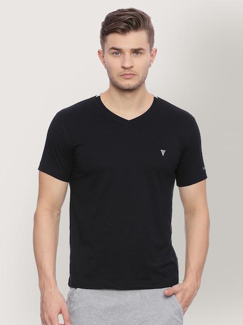 Van Heusen Men Black Solid V-Neck T-shirt