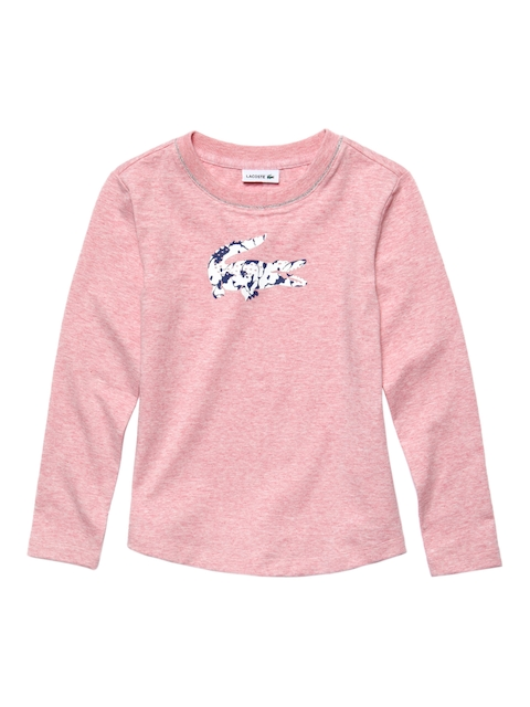 Lacoste Boys Pink Printed Round Neck T-shirt