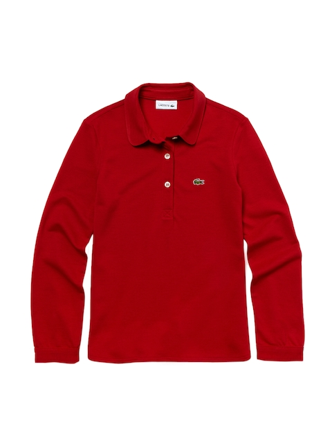 Lacoste Girls Red Flowing Pique Polo