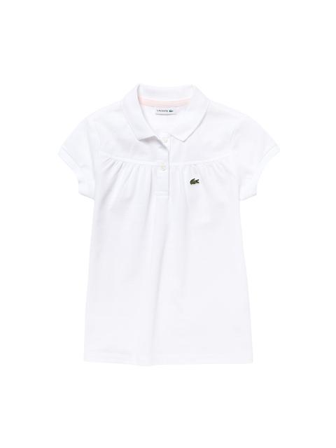 Lacoste Girls White Solid Mini Pique Polo