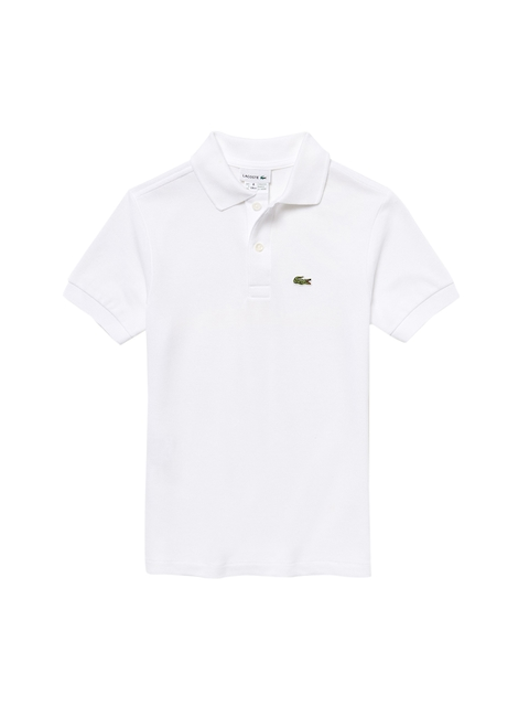 Lacoste Boys White Solid Petit Pique Polo