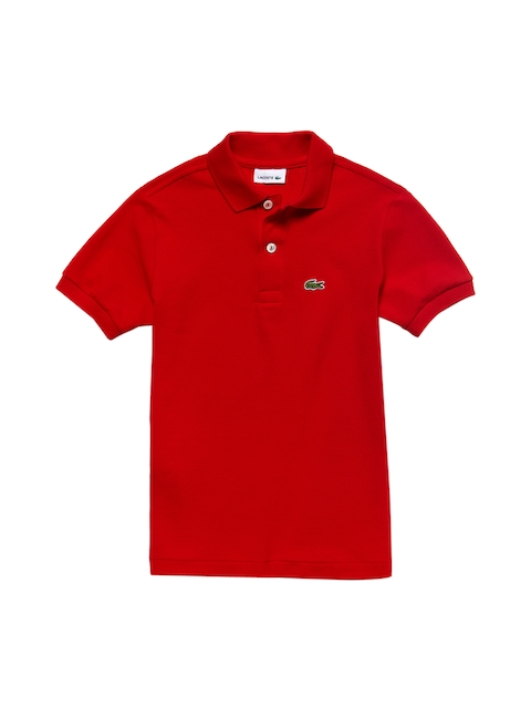 Lacoste Boys Red Solid Petit Pique Polo