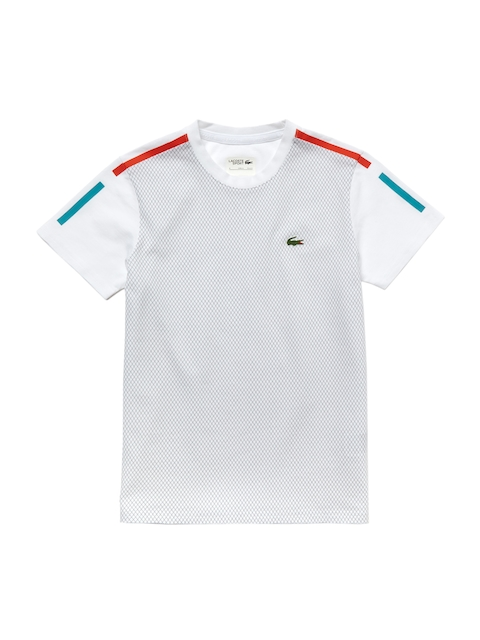 Lacoste Boys White Checked Round Neck T-shirt