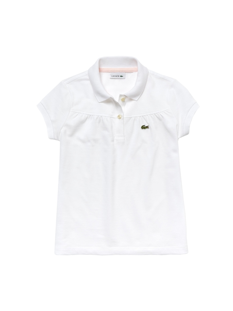 Lacoste Girls White Solid Gathered Mini Pique Polo