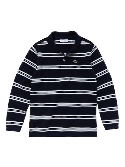 Lacoste Boys Blue Nautical Striped Pique Polo