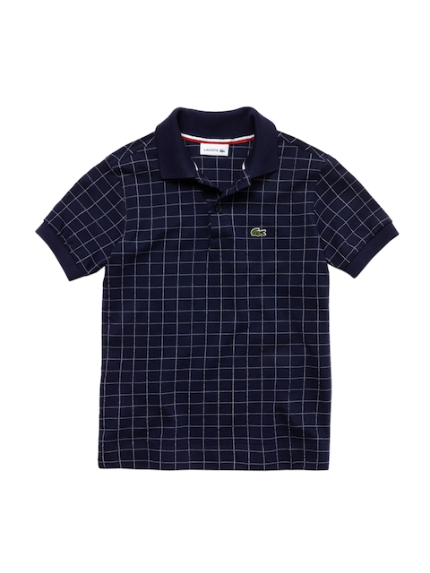 Lacoste Boys Blue Checked & Net Print Classic Fit Polo Collar T-shirt