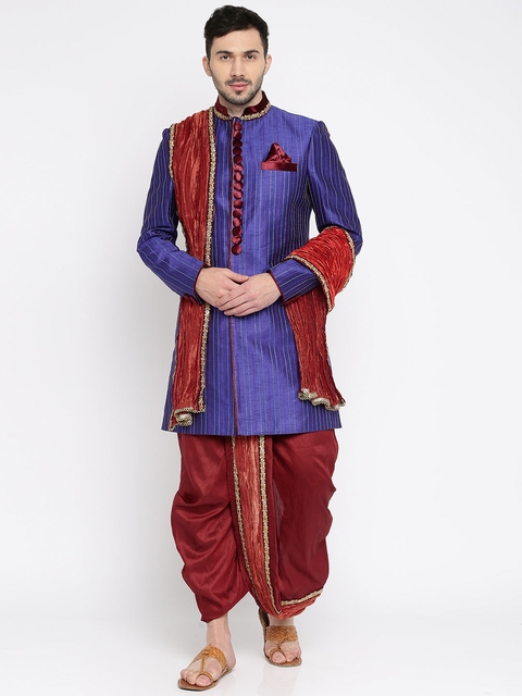 Manish Creations Blue & Red Patterned Sherwani