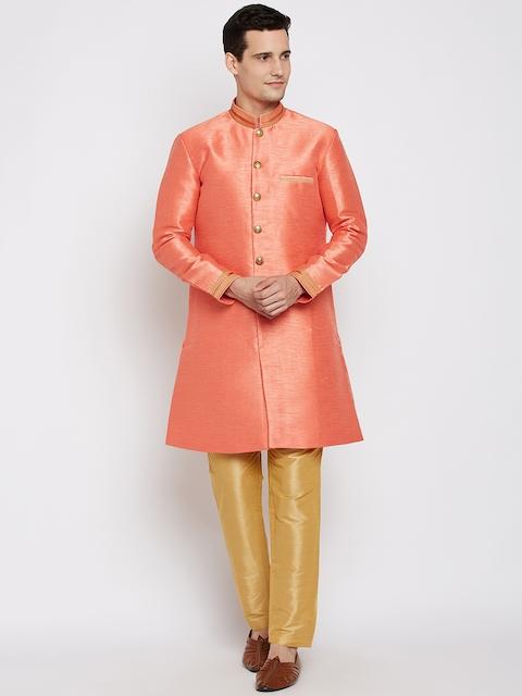 RG DESIGNERS Coral Orange & Golden Sherwani