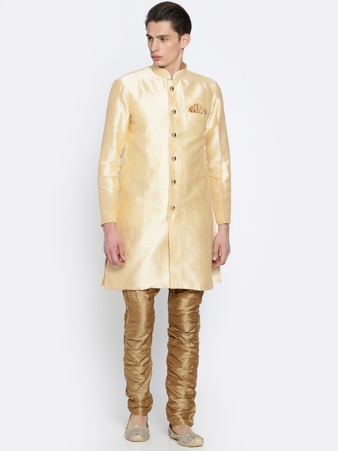 RG DESIGNERS Cream-Coloured & Gold-Toned Sherwani