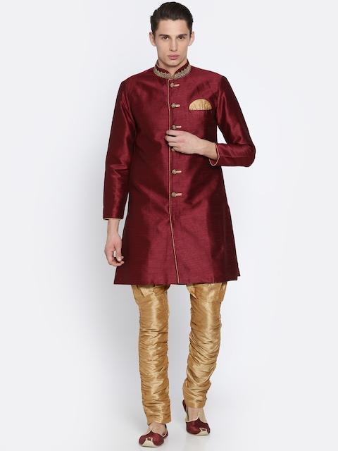 RG DESIGNERS Maroon & Gold-Toned Sherwani
