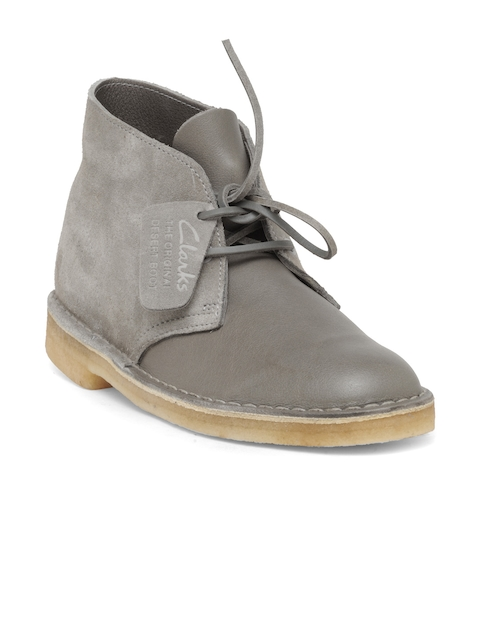 Clarks Men Grey Solid Leather Mid-Top Flat Boots