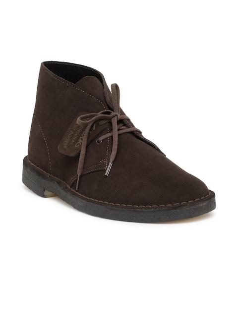 Clarks Men Coffee Brown Solid Mid-Top Desert Boots