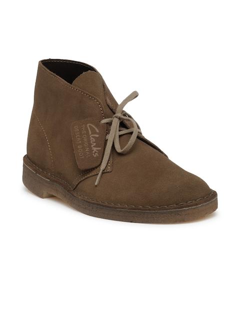 Clarks Men Brown Suede Flat Boots