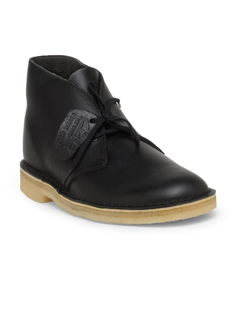 Clarks Men Black Solid Leather Flat Boots
