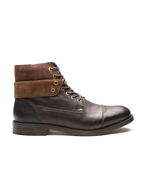 Clarks Men Coffee Brown Solid Leather Mid-Top Flat Boots
