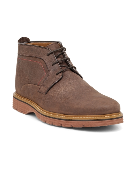 Clarks Men Coffee Brown Solid Nubuck Leather Mid-Top Flat Boots