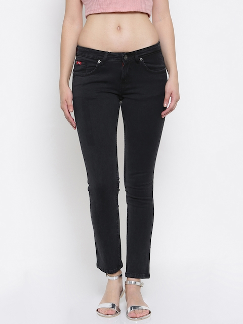 Lee Cooper Women Black Slim Fit Mid-Rise Clean Look Stretchable Jeans