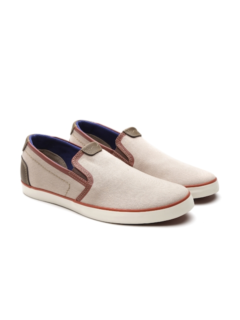Clarks Men Beige Slip-On Sneakers