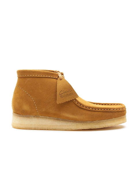 Clarks Men Tan Brown Solid Suede Leather Flat Boots