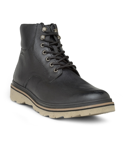 Clarks Men Black Solid High-Top Leather Boots