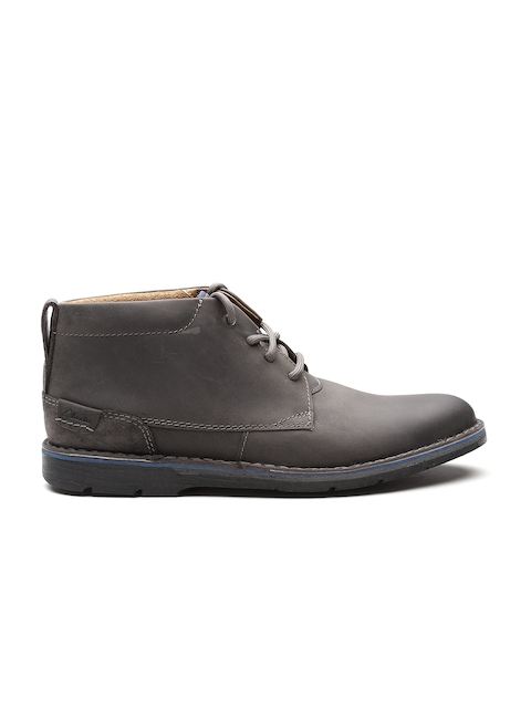 Clarks Men Grey Solid Nubuck Leather Mid-Top Flat Boots