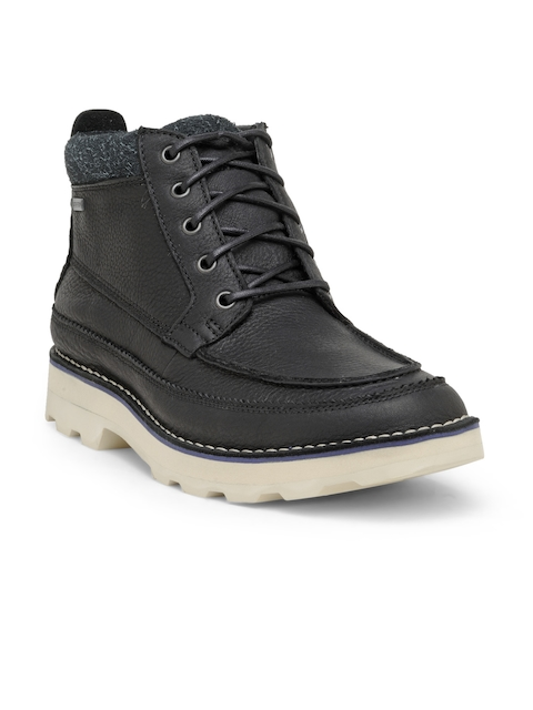 Clarks Men Black Solid Leather Mid-Top Boots