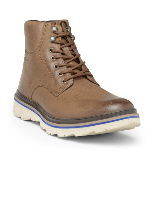Clarks Men Brown Solid High-Top Leather Boots