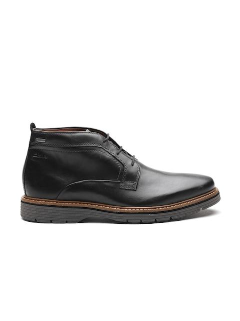 Clarks Men Black Leather Flat Boots