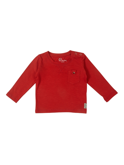 Gini and Jony Boys Red Solid Round Neck T-shirt